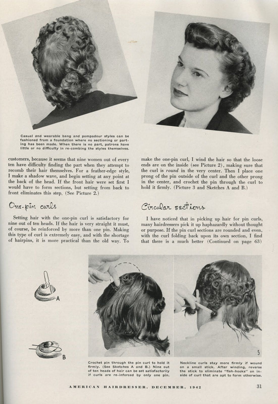 1940's fashion - hairstyling tips - the one pin curl