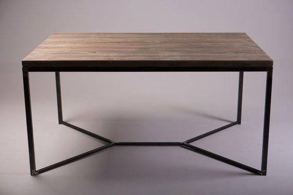Sólida mesa de comedor Industrial v enmarca las piernas de acero ...