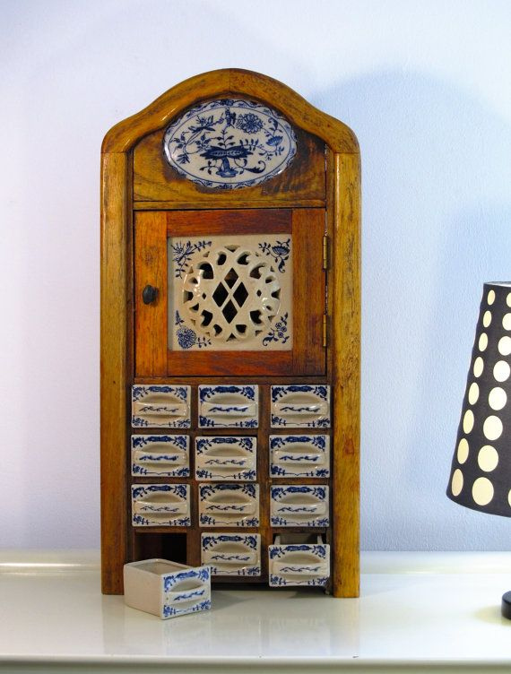 Reserved to A. ** Vintage Kitchen Spice Rack Cabinet, Antique Wooden Spice  Rack Cabinet, Dutch Porcelain Spice Cabinet, Porcelain Drawers - Reserved To A. ** Vintage Kitchen Spice Rack Cabinet, Antique