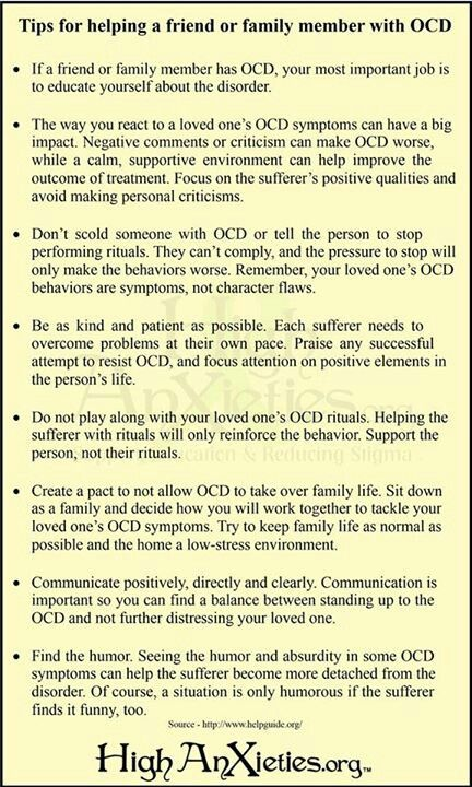 Tips For Helping Family Or Friends With Ocd Psico Ocd Obsessive