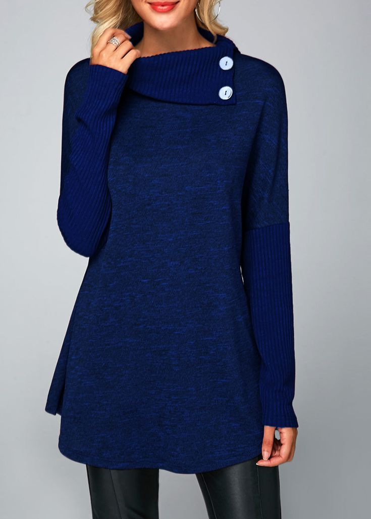 74d005069bc8a Button Detail Long Sleeve Royal Blue Tunic T Shirt in 2019