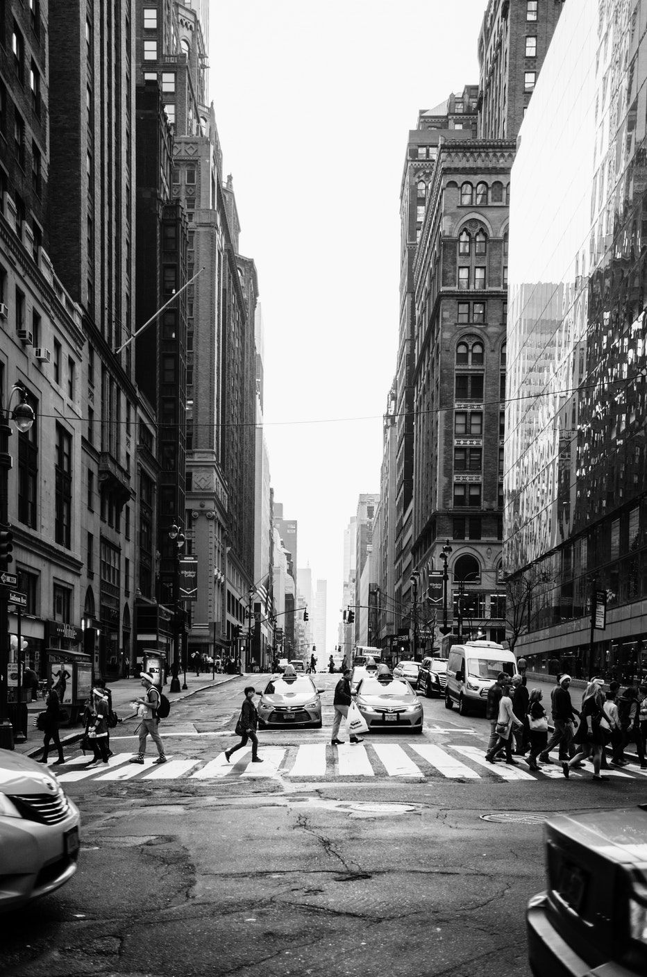Grayscale Photo Of People Crossing The Road City Wallpaper Black And White Pictures New York City