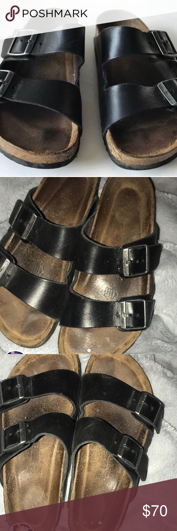 55ff202c6ea BLACK BIRKENSTOCKS size 39 Got these from a seller but they were too small  for my
