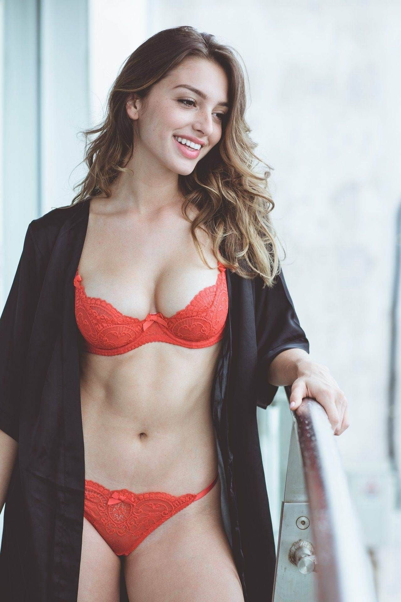 Amazing red lingerie fantastic cleavage and panties. Celine Farach 91f702222