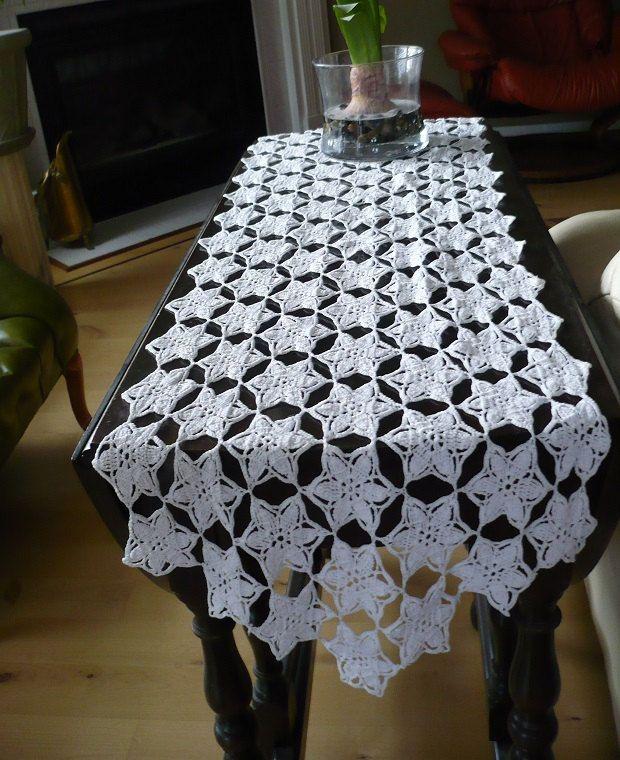 Hand Crochet White Dresser Scarf Table Runner In Stars Pattern 52 X 15