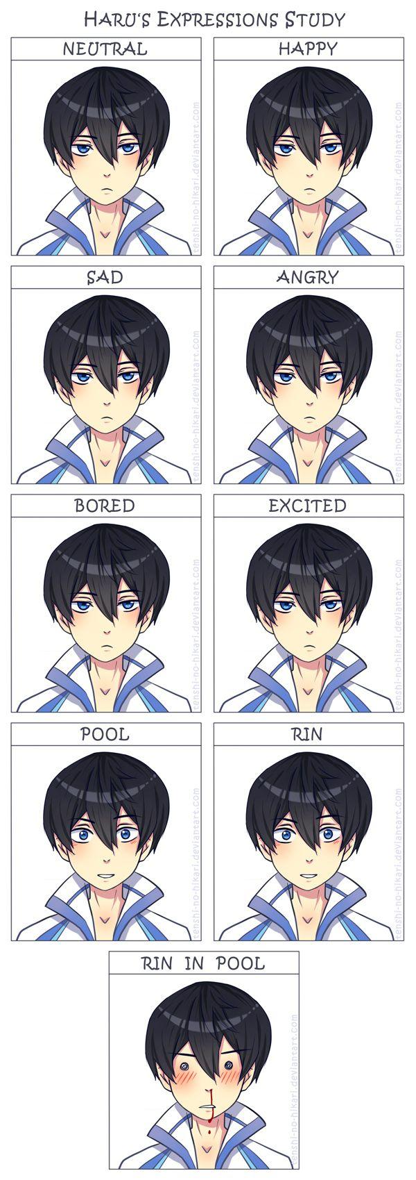 Free - Haru's expressions study by Tenshi-no-Hikari on DeviantArt