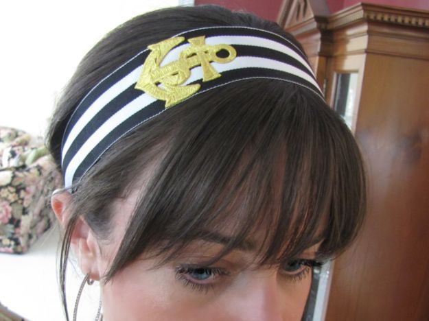 Headbands- she made it herself. Now why didn't I think of that? Especially this anchor one for recruitment?