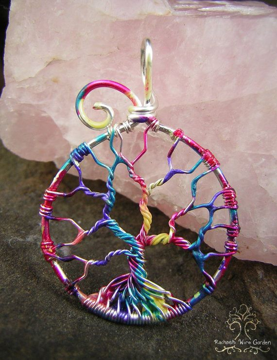 Rainbow Tree of Life Wire Wrapped Pendant Jewelry