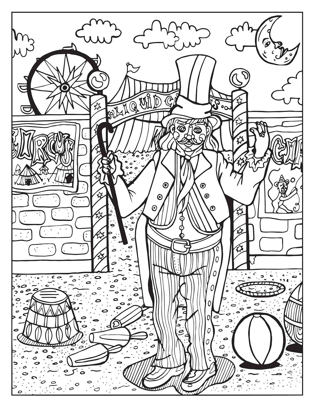 A Day At The Circus Coloring Page On Behance Coloring Books Coloring Book Pages Coloring Pages
