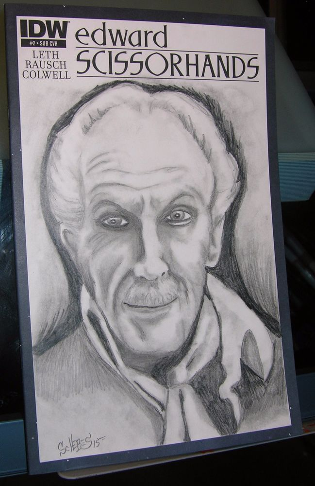 Original art pencil sketch cover vincent price edward scissorhands scheres
