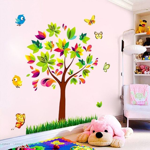 zooyoo tree birds vinyl mural diy wall sticker home decor wall