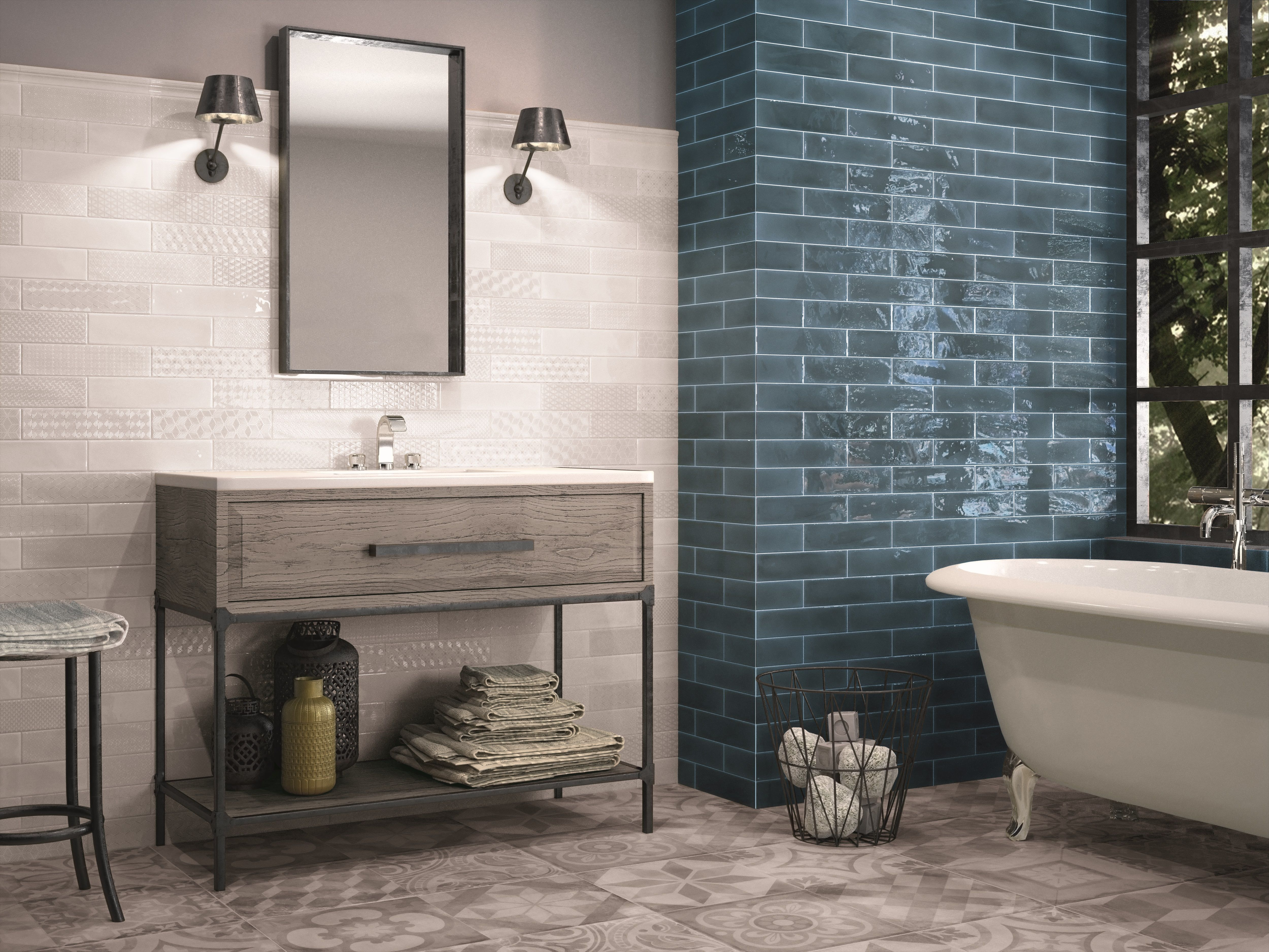 Marine blue metro tiles with white detail tiles and patterned floor ...