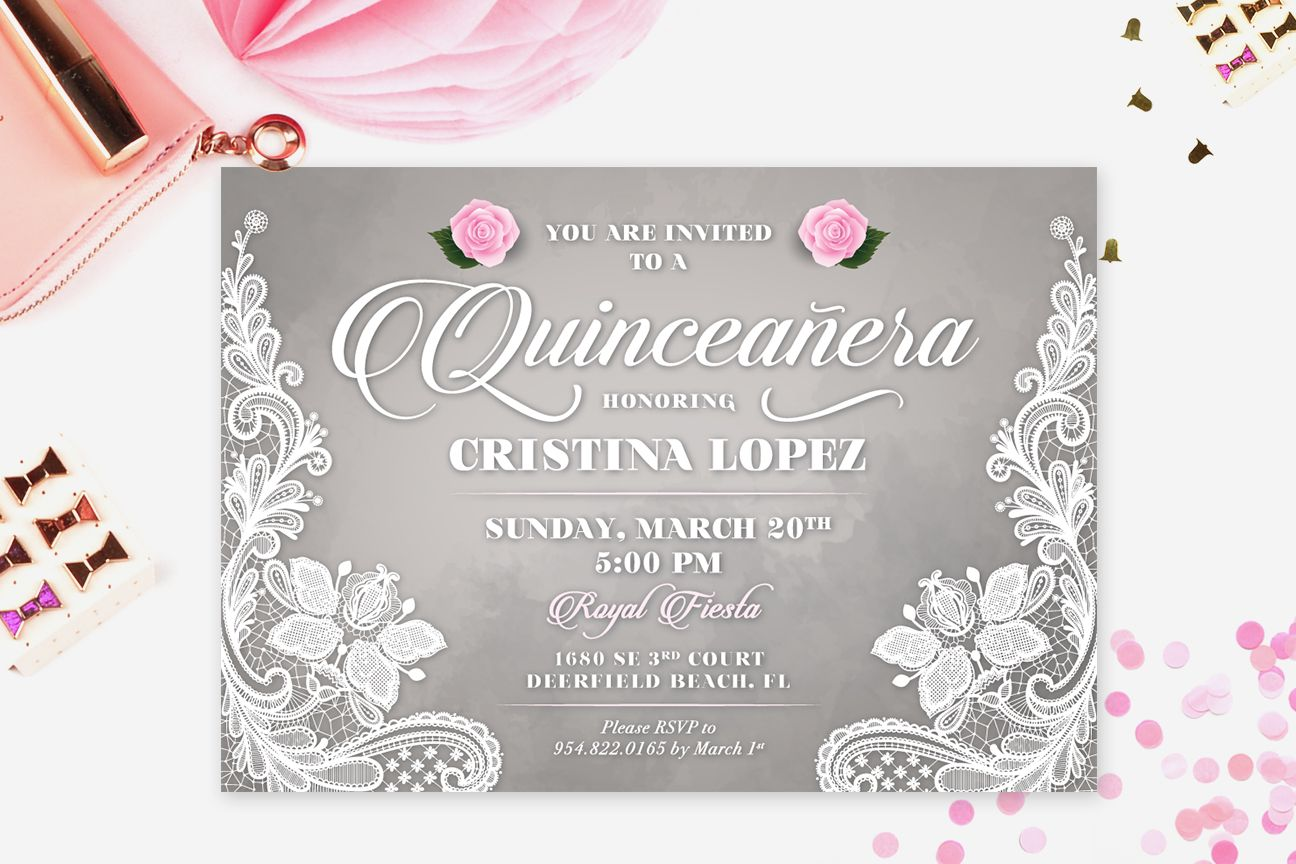 QUINCEAÑERA INVITATION, Printable Sweet 15 Invite, Gray and Pink ...