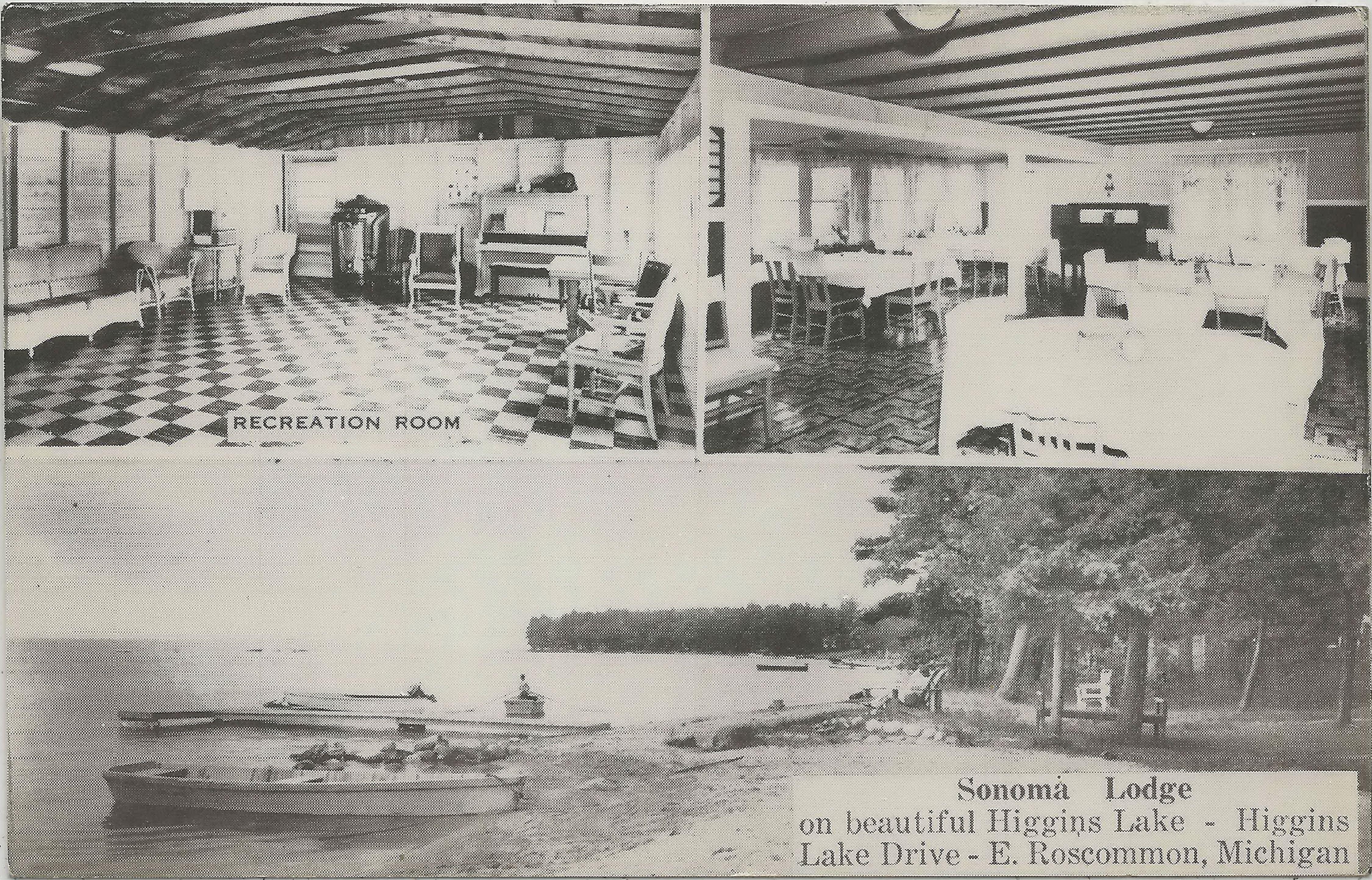 NE Roscommon Higgins Lake MI 1950s Higgins Lake SONOMA LODGE Vacation Resort FUN on Higgins Lake Your Resort Hosts Owners PAUL & HELEN LIPPERT 3 #upnorthmemories