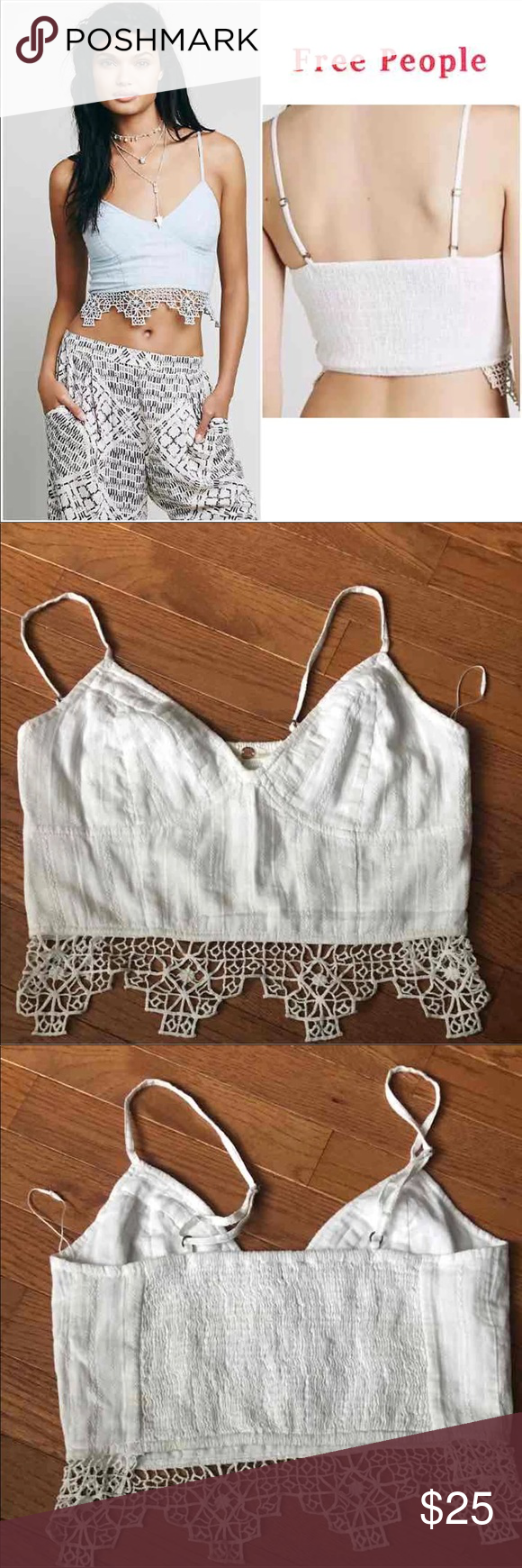 730677e535 Free People FP ONE Geo Lace Bralette Free People FP ONE Geo Lace Crop Top  Bralette New without tags White Size m (I have in size small) Free People  Tops