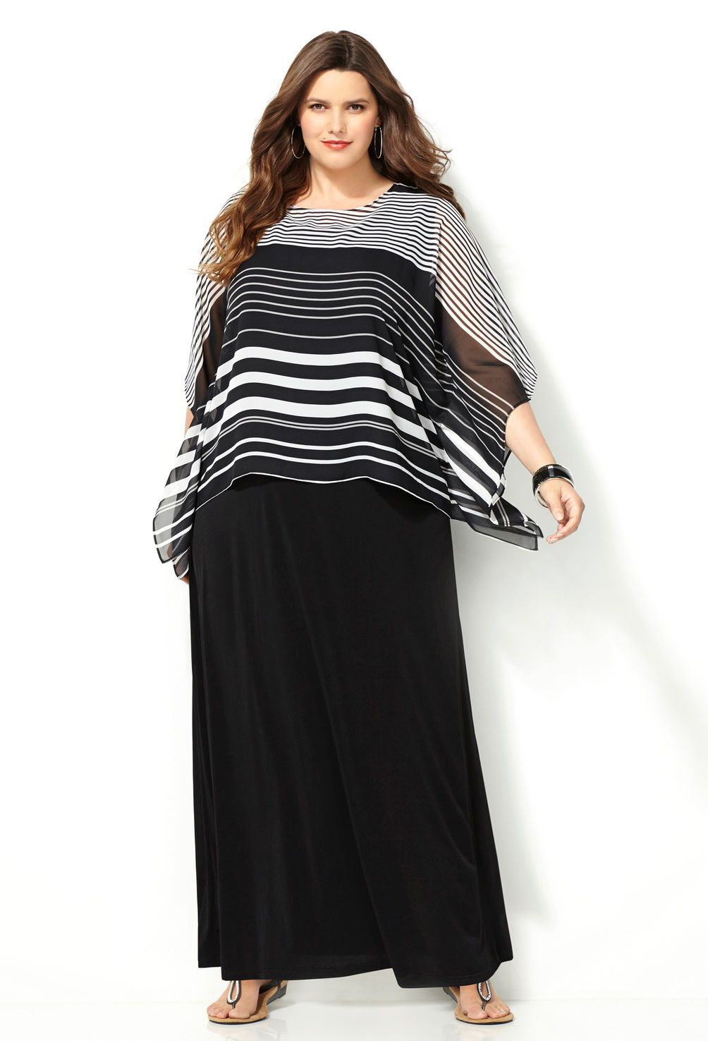 Striped Poncho Maxi Dress-Plus Size Maxi Dress-Avenue ...