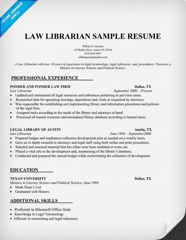 Law Librarian Resume Sample (http\/\/resumecompanion) Resume - legal assistant resume objective