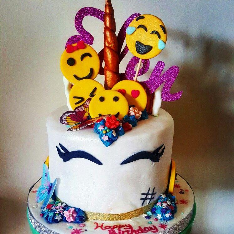 Unicorn Cake #unicorn #emoji #butterflies #glitter
