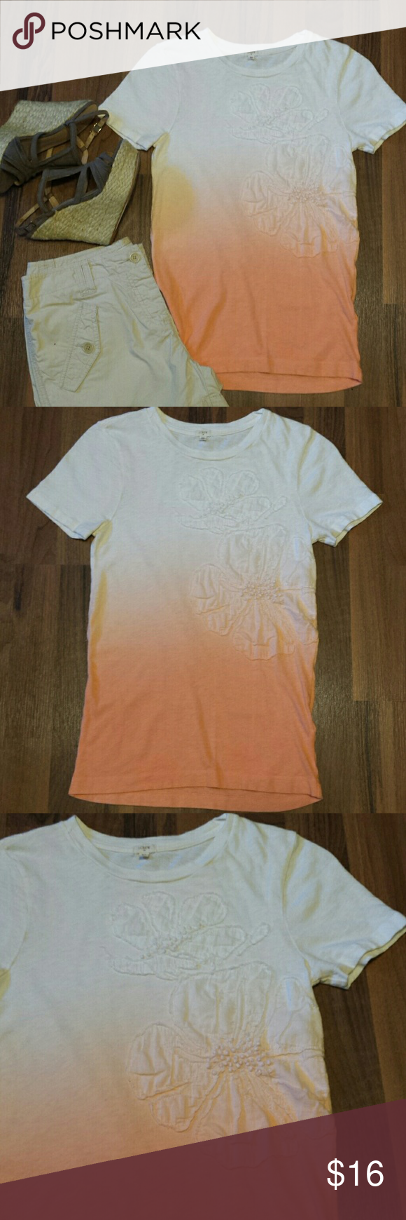 4f380be71e1  J. Crew  Ombré Tee This cute creamsicle colored ombré tshirt is so cute