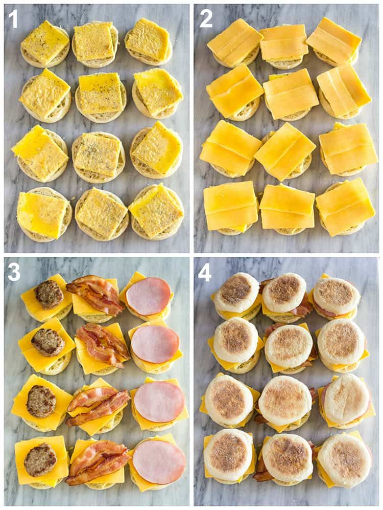 breakfast sandwich #breakfast Assembly process photos for freezer breakfast sandwiches starting with egg on an english muffin, topped with cheese, meat and the top english muffin.