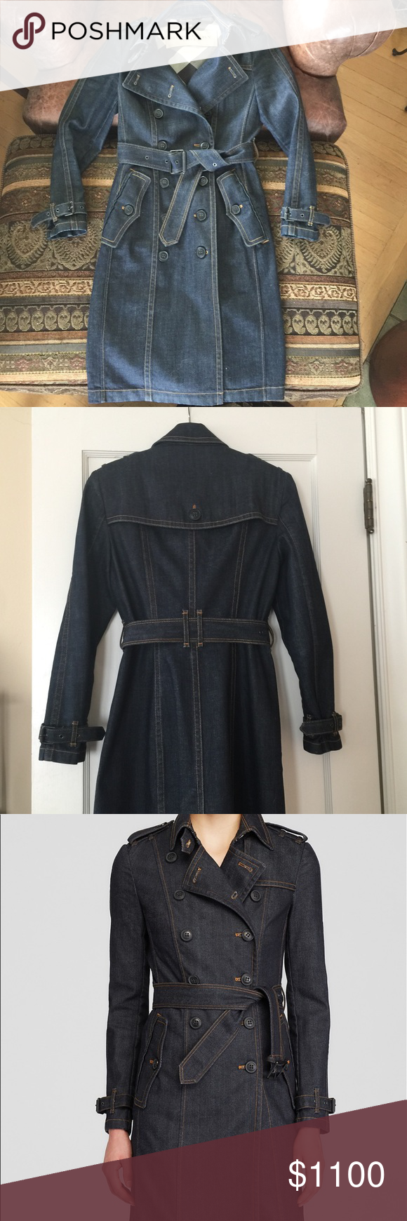 Burberry denim trench coat Only worn once.  Perfect condition.  Can be worn many different ways even as a stand alone dress.  Very smart looking and versatile. Burberry Jackets & Coats Trench Coats