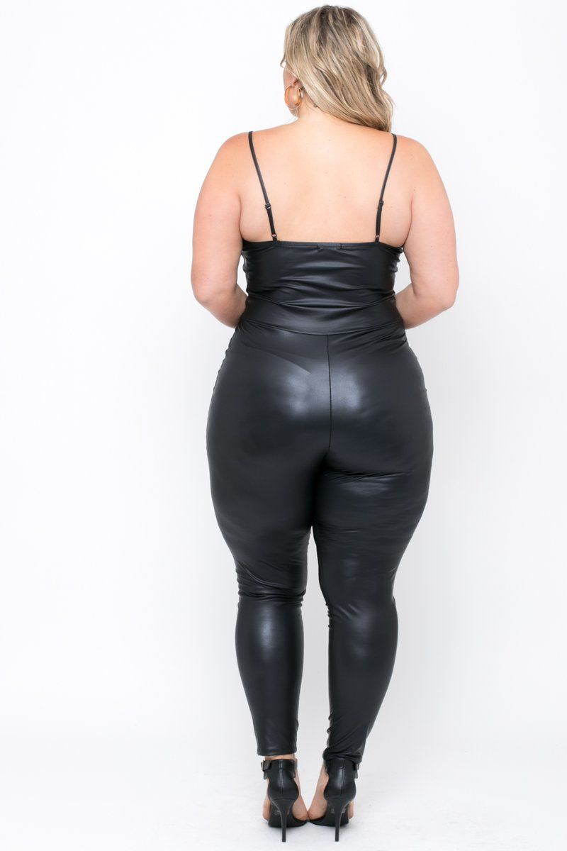 53968f9e593 Plus Size Faux Leather Catsuit - Black