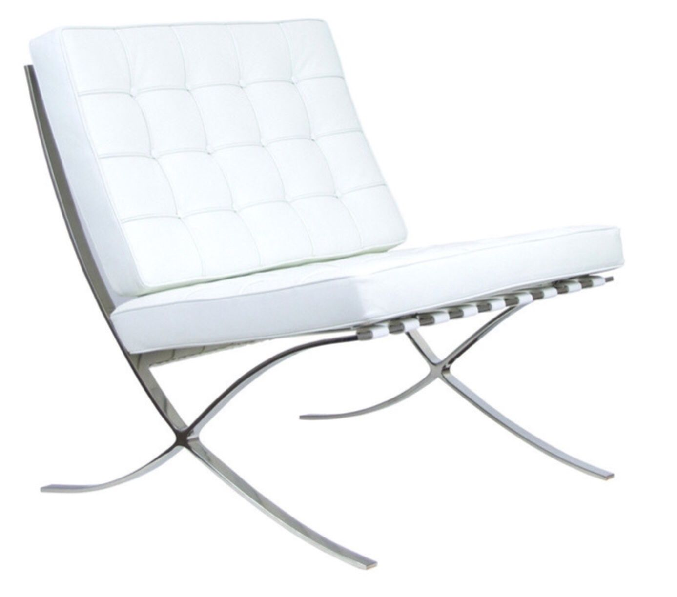 Barcelona chair reproduction aniline leather white sold