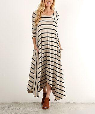 Beige Stripe Side-Pocket Handkerchief Dress