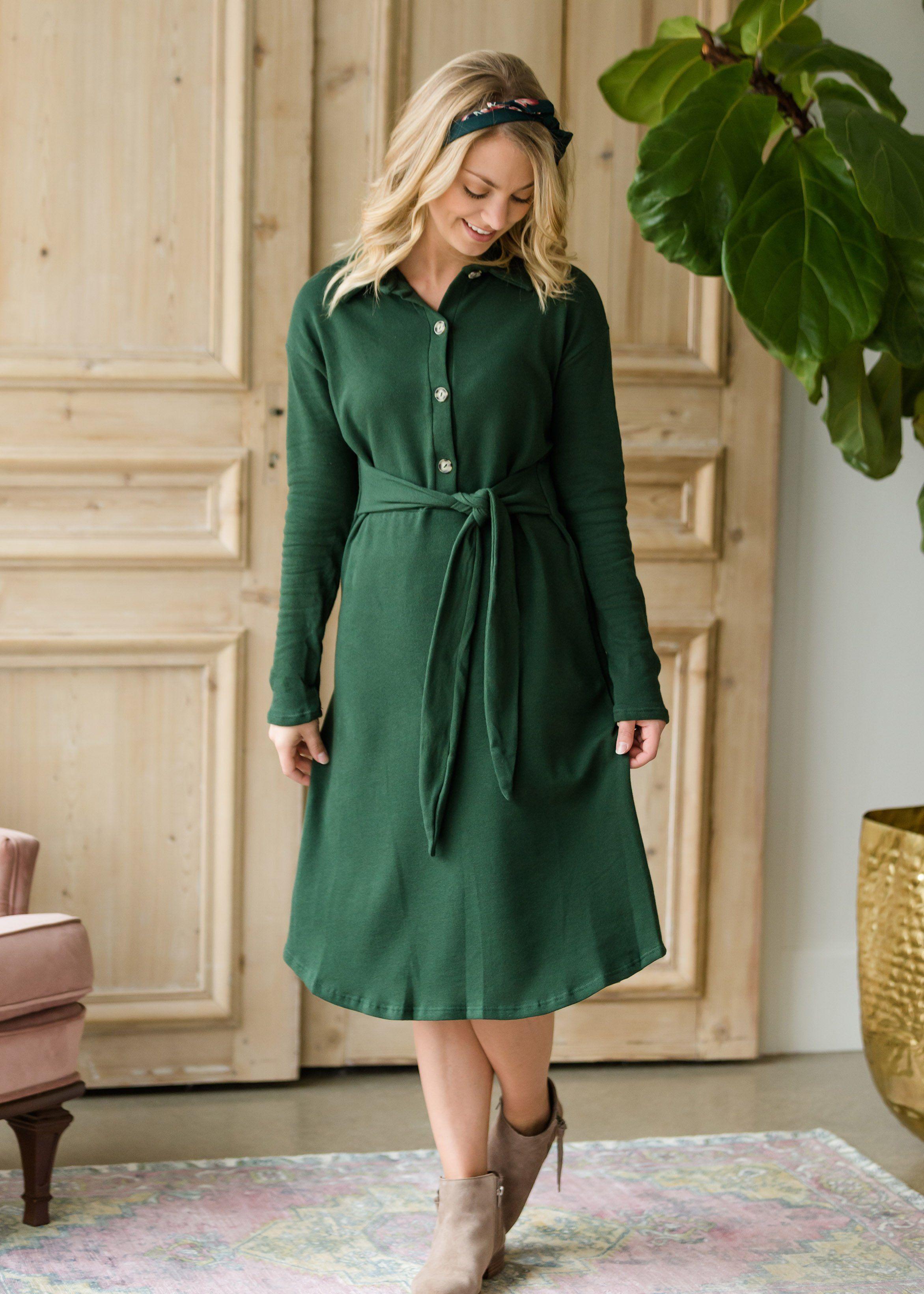 Long Sleeve Button Midi Dress Final Sale Green Midi Dress Dresses Midi Dress [ 3280 x 2343 Pixel ]