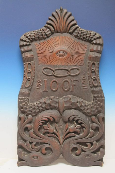 Odd Fellows Lodge Plaque Carved And Shaped Wood Panel With Symbols