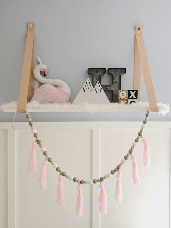 Nursery Garland Decor Featuring Pastel Blush Tels Made From Soft Yarn With Wooden Beads And Cotton