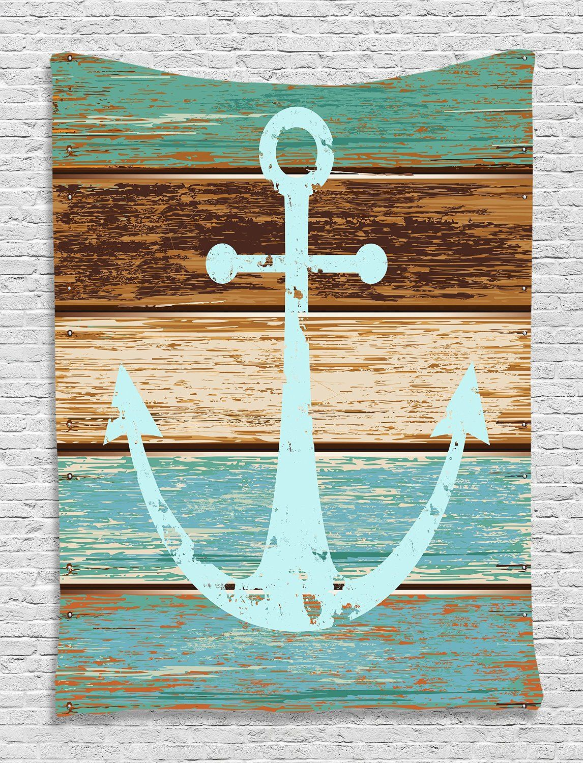 Large Anchor Wall Decor amazon: nautical decor anchor rustic wooden planks marine