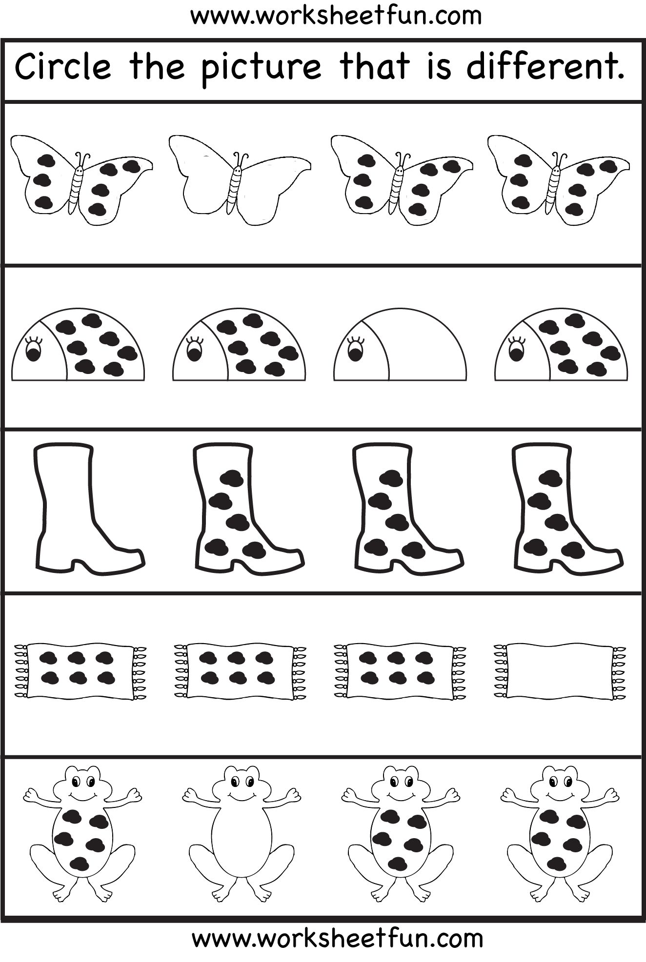 image regarding Educational Activities for 3 Year Olds Printable identify Circle the imagine that is alternate - 3 Worksheets