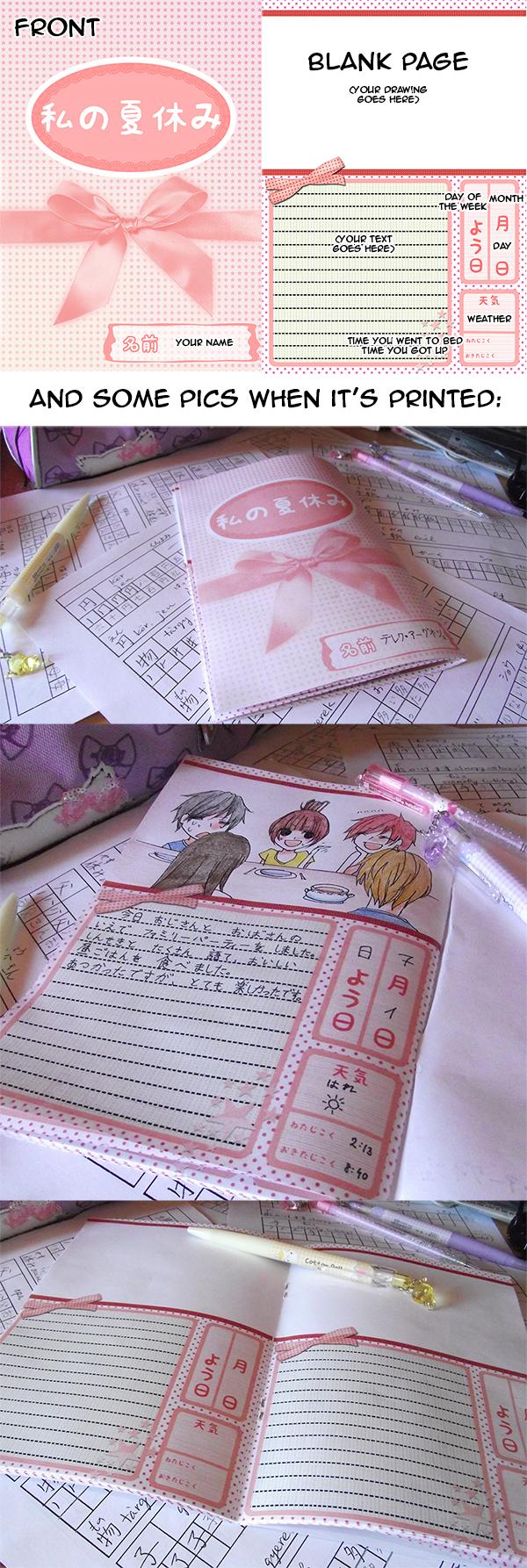 Japanese summer diary template by Fuugen.deviantart.com