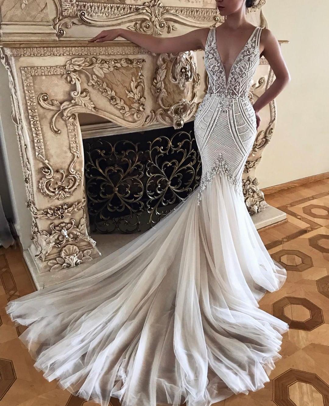Badgley Mischka Bride On Instagram The Gorgeous Charlize Gown Via Arsine Karoz Badgley Mischka Bridal Badgley Mischka Wedding Dress 1920s Wedding Dress,Wedding Dresses With Deep V Neck
