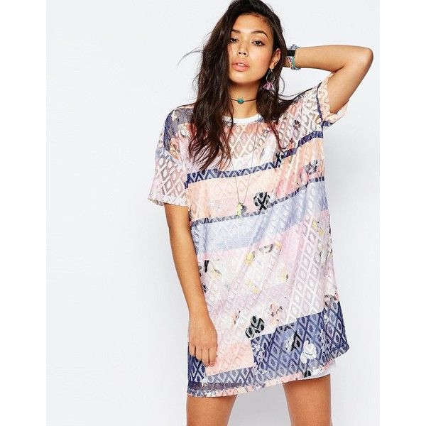 c29f05245a1 Shop for Printed Lace T-shirt Dress by Asos at ShopStyle. Now for Sold Out.
