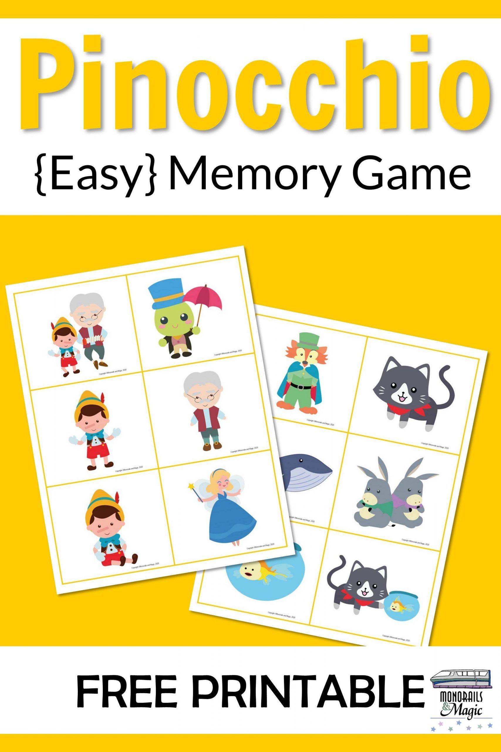 Pinocchio Memory Game Free Printable in 2020 Memory