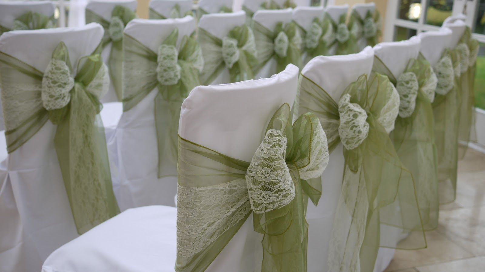 Cream Chair Covers For Weddings Rectangle Kitchen Table And Chairs Green These Lace Double Bows Are Perfect A Crisp Sunny