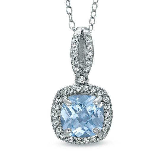 Fine Jewelry Cushion-Cut Simulated Aquamarine and Genuine White Topaz Sterling Silver Pendant Necklace 09VZkKfa