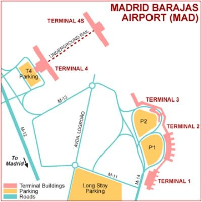 Madrid Airport Map The Madrid Airport Map shows the lay out and transport between