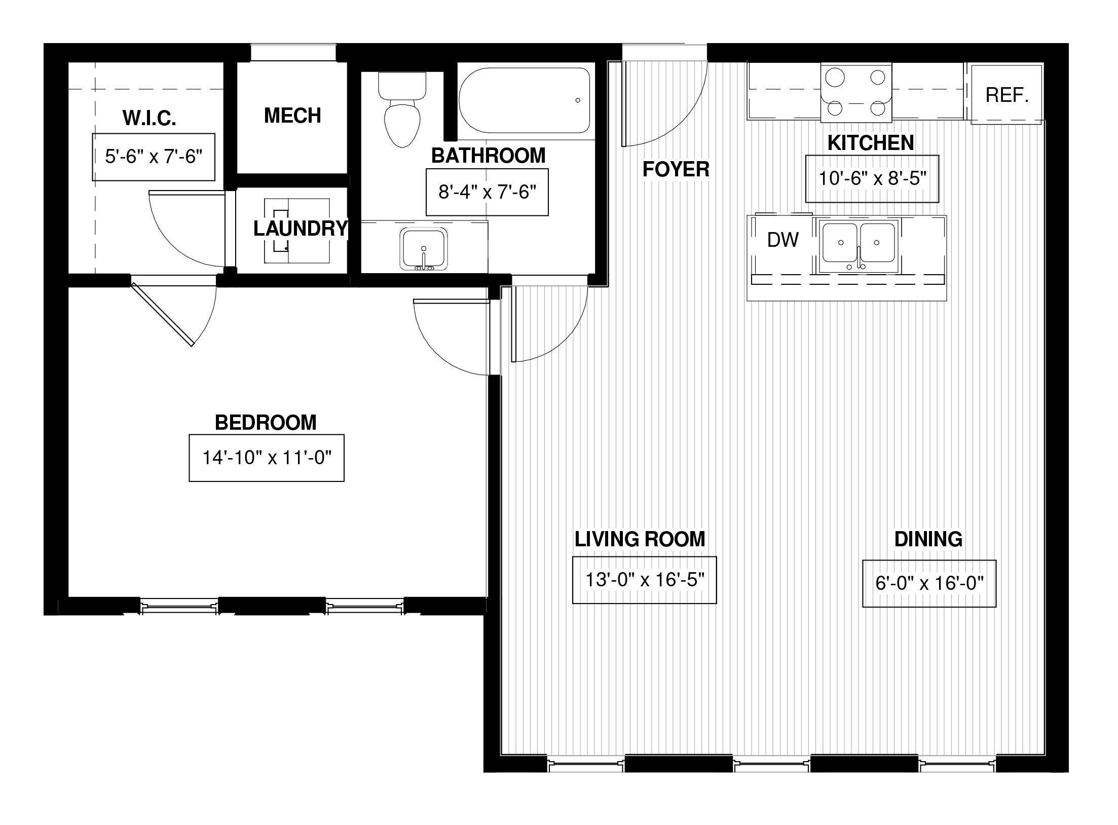 1 Bedroom Basement Apartment Floor Plans