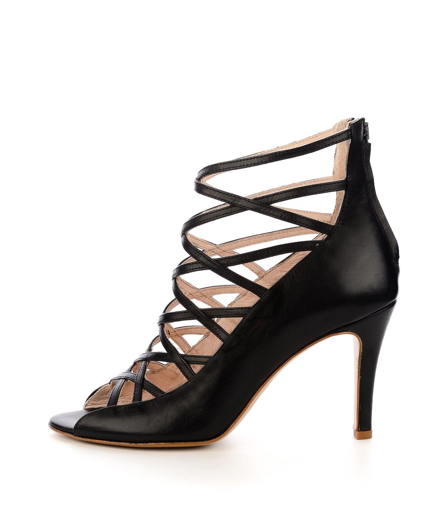 Czarne Letnie Botki Ze Skory Licowej Kolekcja Damska Heels Shoes High Heels
