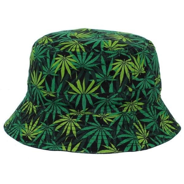 fd0eaec9d21 All Over Printed Green Mary Jane Weed Bucket Hat ( 16) ❤ liked on Polyvore  featuring accessories