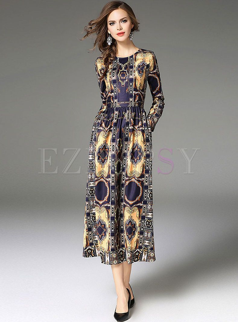 Vintage Floral Print Long Sleeve Maxi Dress Maxi Dress With Sleeves Sew Maxi Dresses Long Sleeve Maxi Dress [ 1066 x 789 Pixel ]