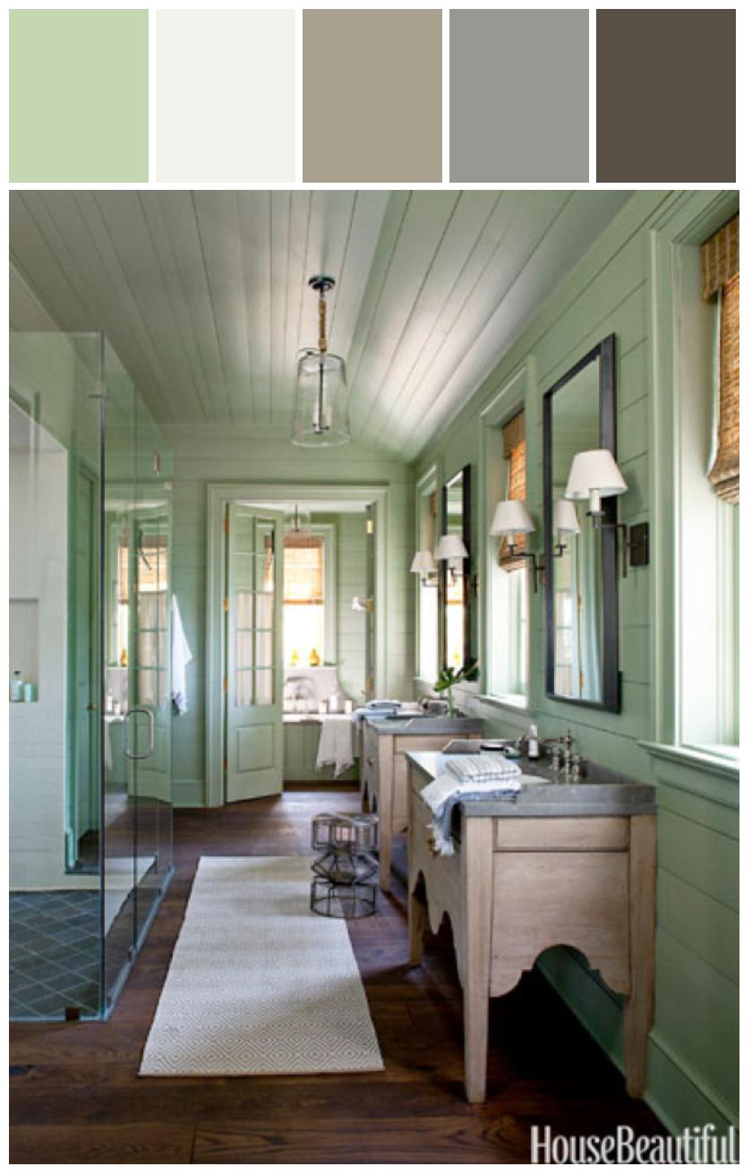 Blissful Abode | Lake House Bathroom #styylze #color #paint @Allison House Beautiful Magazine