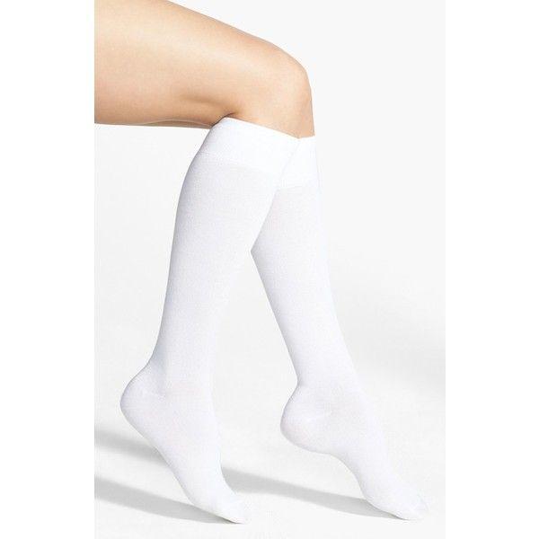 Nordstrom Knee High Socks (58 HRK) ❤ liked on Polyvore featuring intimates, hosiery, socks, accessories, socks/tights, white, knee hi socks, nordstrom hosiery, white knee socks and white hosiery