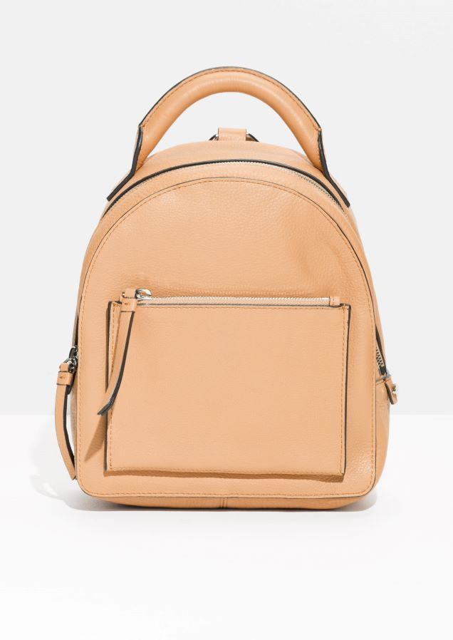 & Other Stories image 1 of Small Leather Backpack in Beige Dark