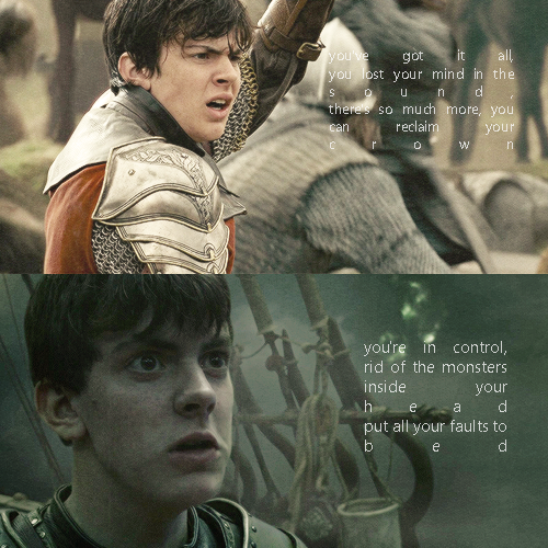 """Edmund - """"There's so much more, you can reclaim your crown,  You're in control, rid of the monsters inside your head..."""""""