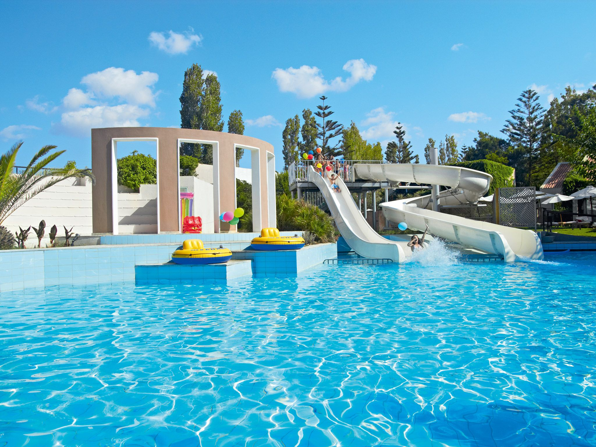 Creta Palace Family Pool With Waterslides Luxuryresorts Luxuryhotels
