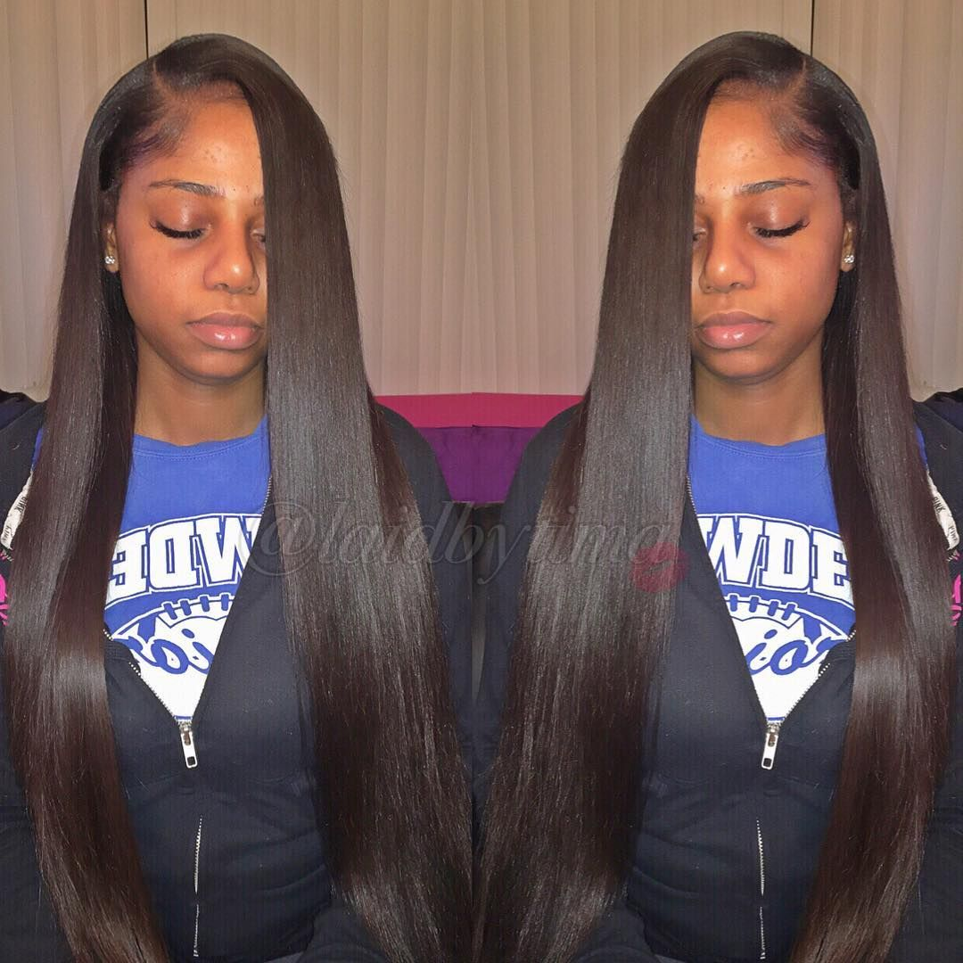 Partial Side Part Silk Pressed Body Wave Hair From Kendrasboutique Laid La Straight Weave Hairstyles Straight Hairstyles Virgin Brazilian Straight Hair